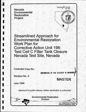 Primary view of object titled 'Streamlined approach for environmental restoration workplan for Corrective Action Unit 198: Test Cell C filter tank closure, Nevada Test Site, Nevada. Revision 1'.