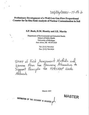 Primary view of object titled 'Study of field assessment methods and worker risks for processing alternatives to support principles for FUSRAP waste materials. Part 2: Preliminary development of a wall-less gas-flow proportional counter for in-situ field analysis of nuclear contamination in soil'.