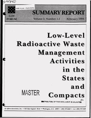 Primary view of object titled 'LLW Forum summary report: Volume 2, Number 1.1, February 1994: Low-level radioactive waste management activities in the states and compacts'.