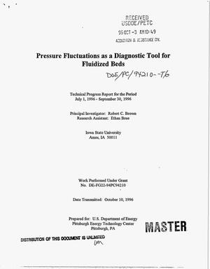 Primary view of object titled 'Pressure fluctuations as a diagnostic tool for fluidized beds. Technical progress report, July 1, 1996--September 30, 1996'.