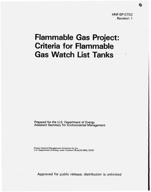 Primary view of object titled 'Flammable gas project: Criteria for flammable gas watch list tanks'.