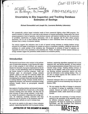 Primary view of object titled 'Uncertainty in site inspection and tracking database estimates of savings'.