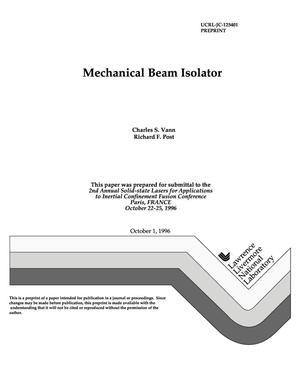 Primary view of object titled 'Mechanical beam isolator'.