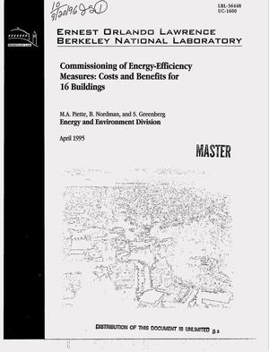 Primary view of object titled 'Commissioning of energy-efficiency measures: Costs and benefits for 16 buildings'.