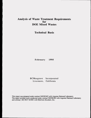 Primary view of object titled 'Analysis of waste treatment requirements for DOE mixed wastes: Technical basis'.
