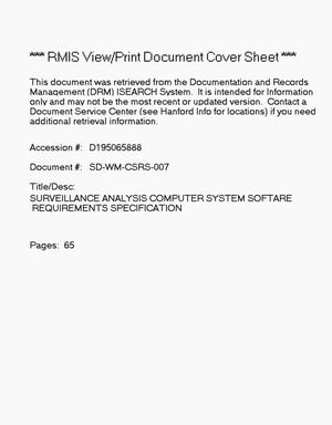 Primary view of object titled 'Surveillance Analysis Computer System (SACS) software requirements specification (SRS)'.