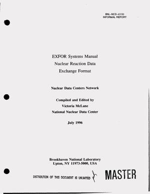 Primary view of object titled 'EXFOR systems manual: Nuclear reaction data exchange format'.