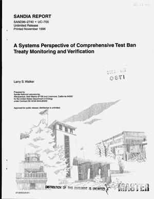 Primary view of object titled 'A systems perspective of Comprehensive Test Ban Treaty monitoring and verification'.