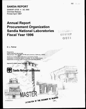 Primary view of object titled 'Annual report procurement organization Sandia National Laboratories fiscal year 1996'.