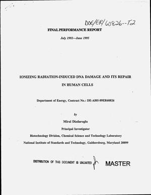 Primary view of object titled 'Ionizing radiation-induced DNA damage and its repair in human cells. Final performance report, July 1992--June 1995'.