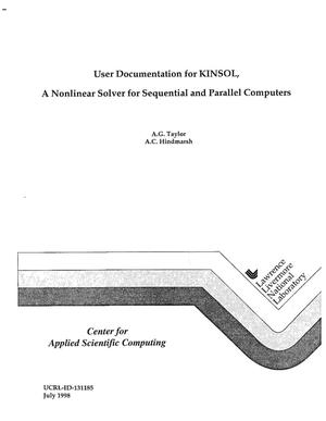 Primary view of object titled 'User documentation for KINSOL, a nonlinear solver for sequential and parallel computers'.