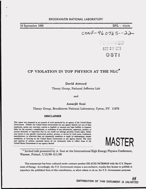 Primary view of object titled 'CP violation in top physics at the NLC'.