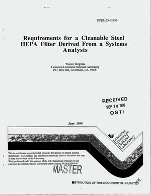 Primary view of object titled 'Requirements for a cleanable steel HEPA filter derived from a systems analysis'.
