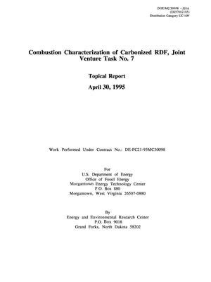 Primary view of object titled 'Combustion characterization of carbonized RDF, Joint Venture Task No. 7. Topical Report'.