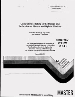 Primary view of object titled 'Computer modeling in the design and evaluation of electric and hybrid vehicles'.