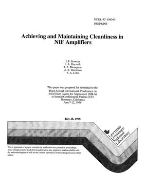 Primary view of object titled 'Achieving and maintaining cleanliness in NIF amplifiers'.