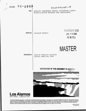 Primary view of object titled 'Quality assurance manual plutonium liquid scintillation methods and procedures'.