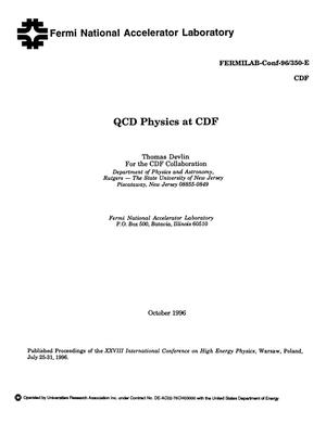 Primary view of object titled 'QCD physics at CDF'.