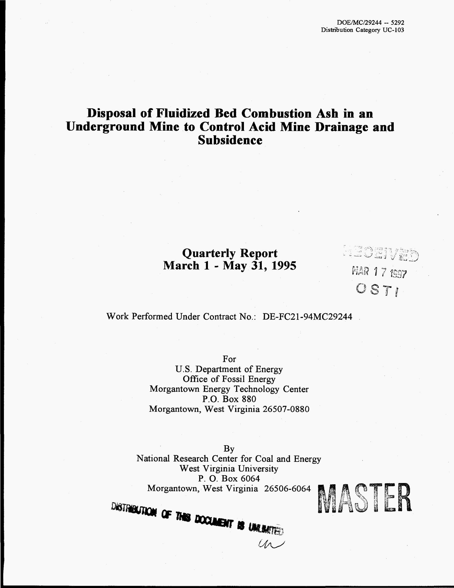 Disposal of fluidized bed combustion ash in an underground mine to control acid mine drainage and subsidence: Quarterly report, March 1-May 31, 1995                                                                                                      [Sequence #]: 1 of 47