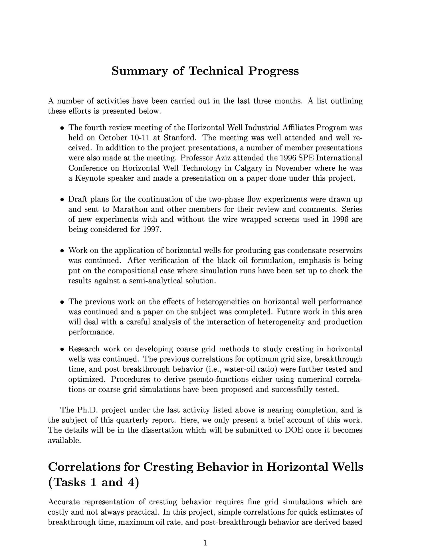 Coorelations for cresting behavior in horizontal wells. Quarterly report, October 1, 1996--December 31, 1996                                                                                                      [Sequence #]: 3 of 16
