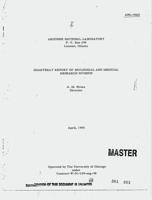 Primary view of object titled 'Quarterly report of Biological and Medical Research Division, April 1955'.