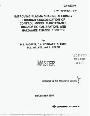 Primary view of object titled 'Improving plasma shaping accuracy through consolidation of control model maintenance, diagnostic calibration, and hardware change control'.