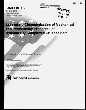 Primary view of object titled 'Laboratory Characterization of Mechanical and Permeability Properties of Dynamically Compacted Crushed Salt'.