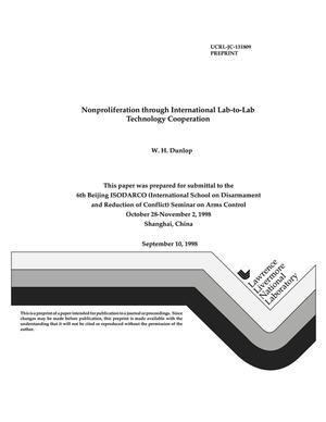 Primary view of object titled 'Nonproliferation through international lab-to-lab technology cooperation'.