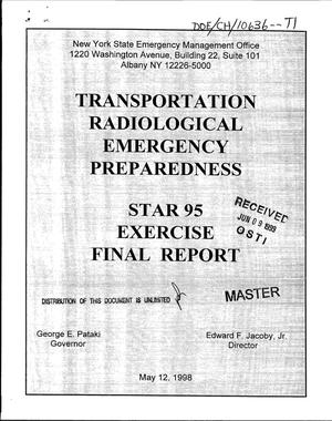 Primary view of object titled 'Transportation radiological emergency preparedness: STAR 95 Exercise final report'.