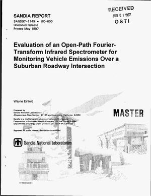 Primary view of object titled 'Evaluation of an open-path fourier-transform infrared spectrometer for monitoring vehicle emissions over a suburban roadway intersection'.