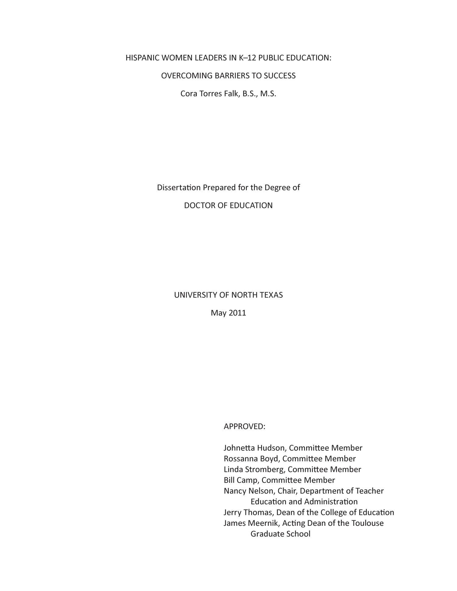 Dissertation women in educational leadership