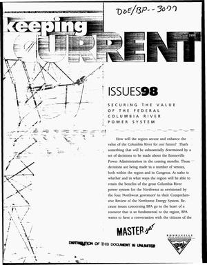 Primary view of object titled 'Securing the Value of the Federal Columbia River Power System, Keeping Current, June 1998, Issue 98.'.