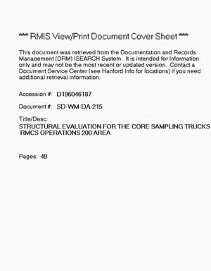 Primary view of object titled 'Structural evaluation for the core sampling trucks, RMCS operations, 200 Area'.
