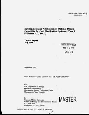 Primary view of object titled 'Development and application of optimal design capability for coal gasification systems - Task 1 (Volume 1, 2 and 3). Topical report, July 1995'.
