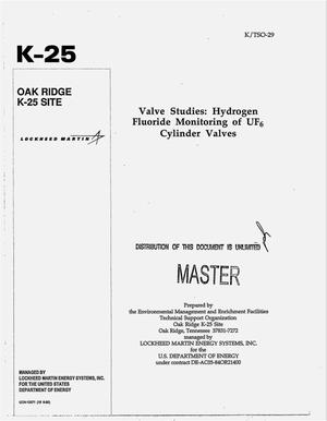 Primary view of object titled 'Valve studies: Hydrogen fluoride monitoring of UF{sub 6} cylinder valves'.
