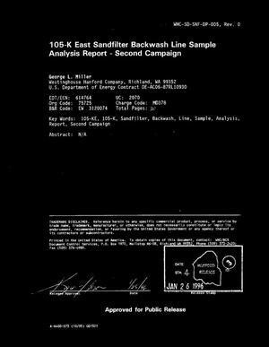 105-K east sandfilter backwash line sample analysis report  Second