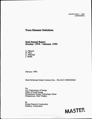 Primary view of object titled 'Trace element emissions. Semi-annual report, October 1994--February 1995'.