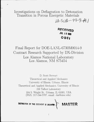 Primary view of object titled 'Investigations on deflagration to detonation transition in porous energetic materials. Final report'.
