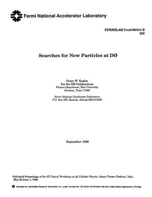 Primary view of object titled 'Searches for new particles at D0'.