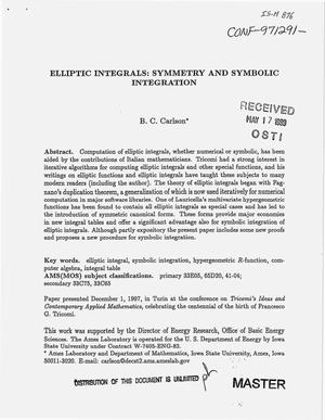 Primary view of object titled 'Elliptic integrals: Symmetry and symbolic integration'.
