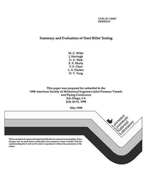 Primary view of object titled 'Summary and evaluation of steel billet testing'.
