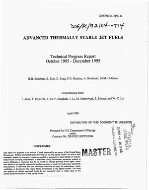 Primary view of object titled 'Advanced thermally stable jet fuels. Technical progress report, 1995'.