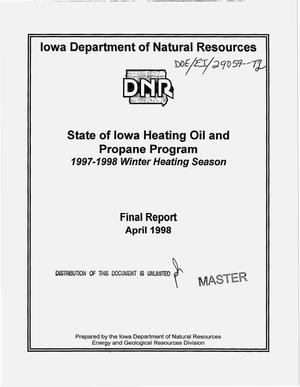 Primary view of object titled 'State of Iowa heating oil and propane program, 1997--1998 winter heating season: Final report'.
