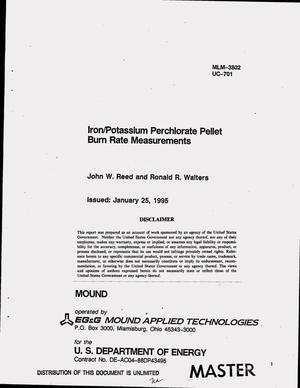 Primary view of object titled 'Iron/potassium perchlorate pellet burn rate measurements'.