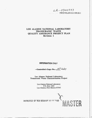 Primary view of object titled 'Los Alamos National Laboratory transuranic waste quality assurance project plan. Revision 1'.