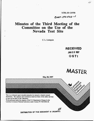 Primary view of object titled 'Minutes of third meeting of committee on use of Nevada Test Site'.