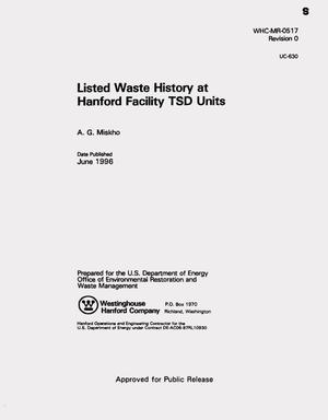 Primary view of object titled 'Listed waste history at Hanford facility TSD units'.