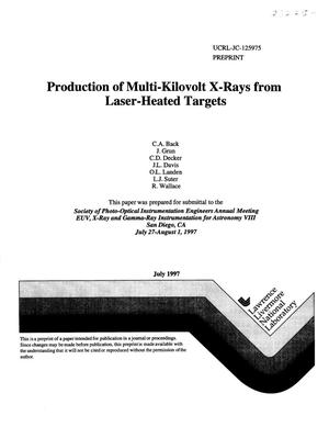 Primary view of object titled 'Production of multi-kilovolt x-ray from laser-heated targets'.