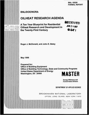 Primary view of Oilheat research agenda: A ten year blueprint for residential oilheat research and development in the Twenty-First Century