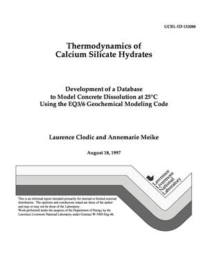 Primary view of object titled 'Thermodynamics of calcium silicate hydrates, development of a database to model concrete dissolution at 25°C using the EQ3/6 geochemical modeling code'.